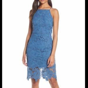 Adelyn Rae Farrah Halter Lace Cocktail Dress - S